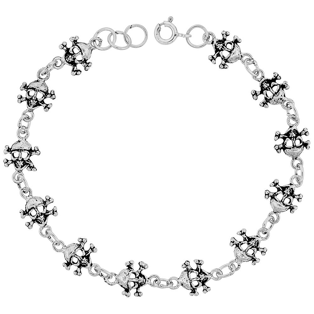 Dainty Sterling Silver Skull Bracelet for Women and Girls, 3/8 wide 7.5 inch long