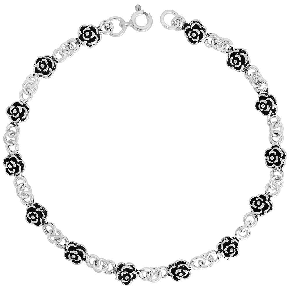 Sterling Silver Dainty Flower Bracelet for Women and Girls, 1/4 wide 7.5 inch long
