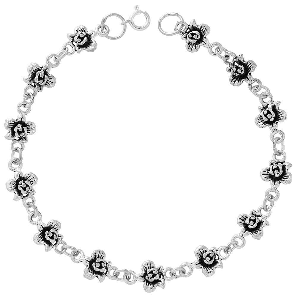 Dainty Sterling Silver Flower Bracelet for Women and Girls, 1/4 wide 7.5 inch long