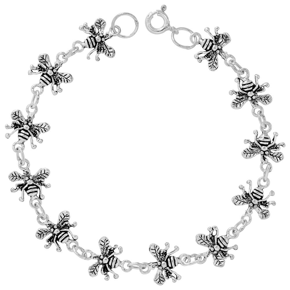 Sterling Silver Dainty Butterfly Bracelet for Women and Girls, 3/8 wide 7.5 inch long