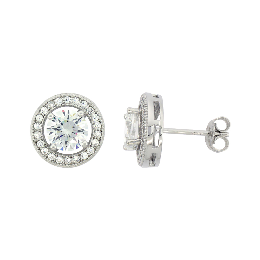 Sterling Silver Cubic Zirconia Micro Pave Halo Stud Earrings 1 ct Center 7/16 inch