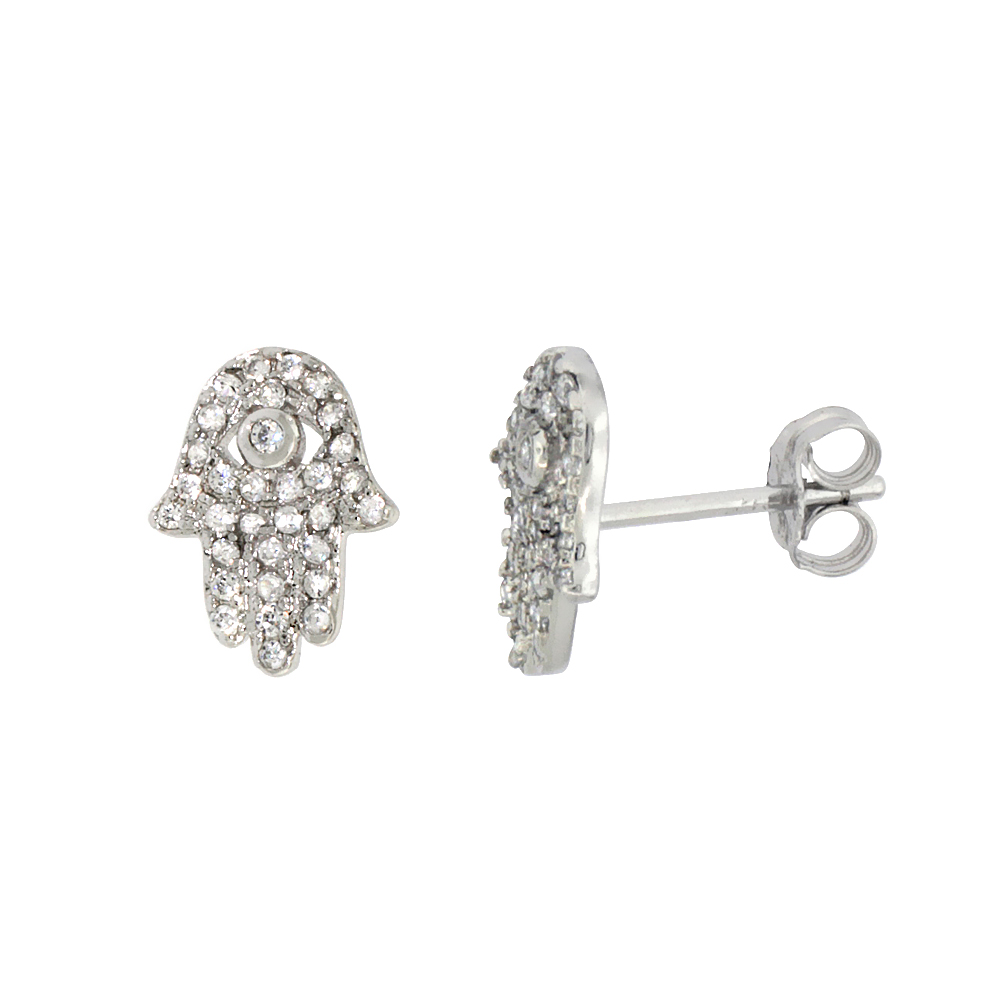 Sterling Silver Cubic Zirconia Micro Pave Small Hamsa Earrings 3/8 inch