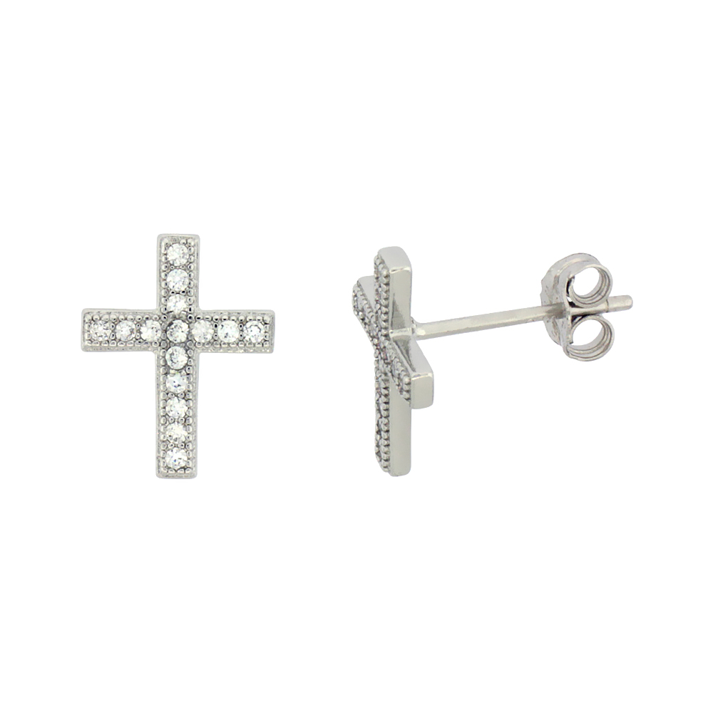 Sterling Silver Cubic Zirconia Cross Stud Earrings Micro Pave 1/2 inch