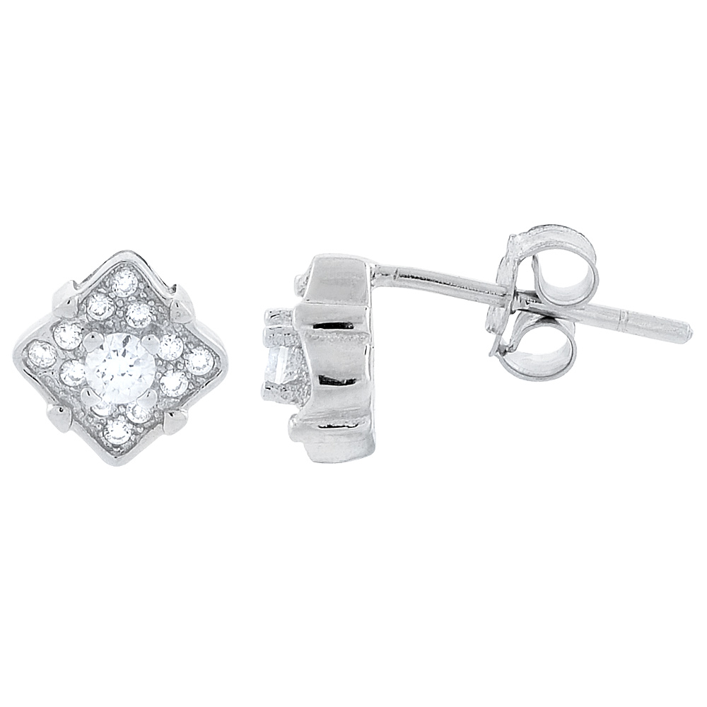 Sterling Silver Cubic Zirconia Micro Pave Round Stud Earrings 1/4 inch wide