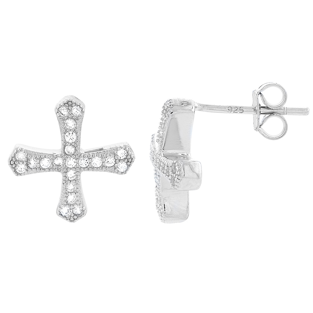 Sterling Silver Cubic Zirconia Micro Pave Cross Stud Earrings 1/2 inch wide
