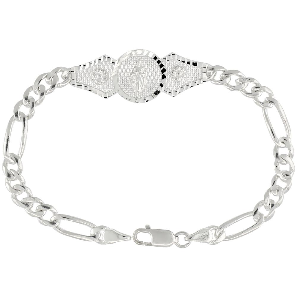 Sterling Silver St. Jude Figaro Link Bracelet 1/2 inch wide, 7 inch long