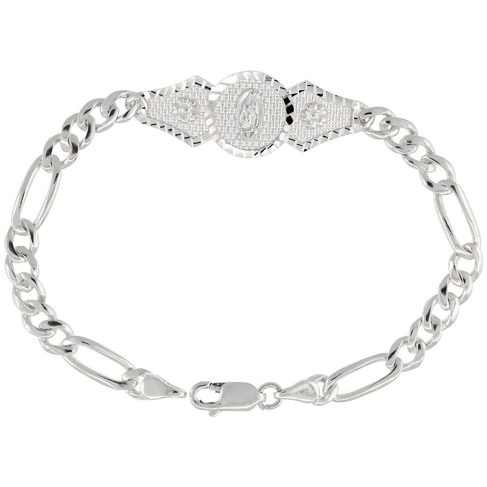 Sterling Silver Guadalupe Figaro Link Bracelet 1/2 inch wide, 7 inch long