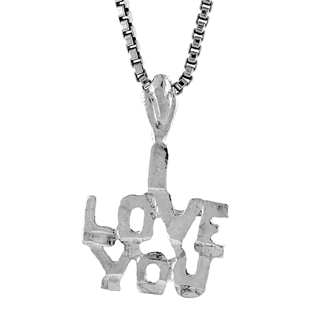 Sterling Silver Small I Love You Word Pendant, 1/2 inch Tall