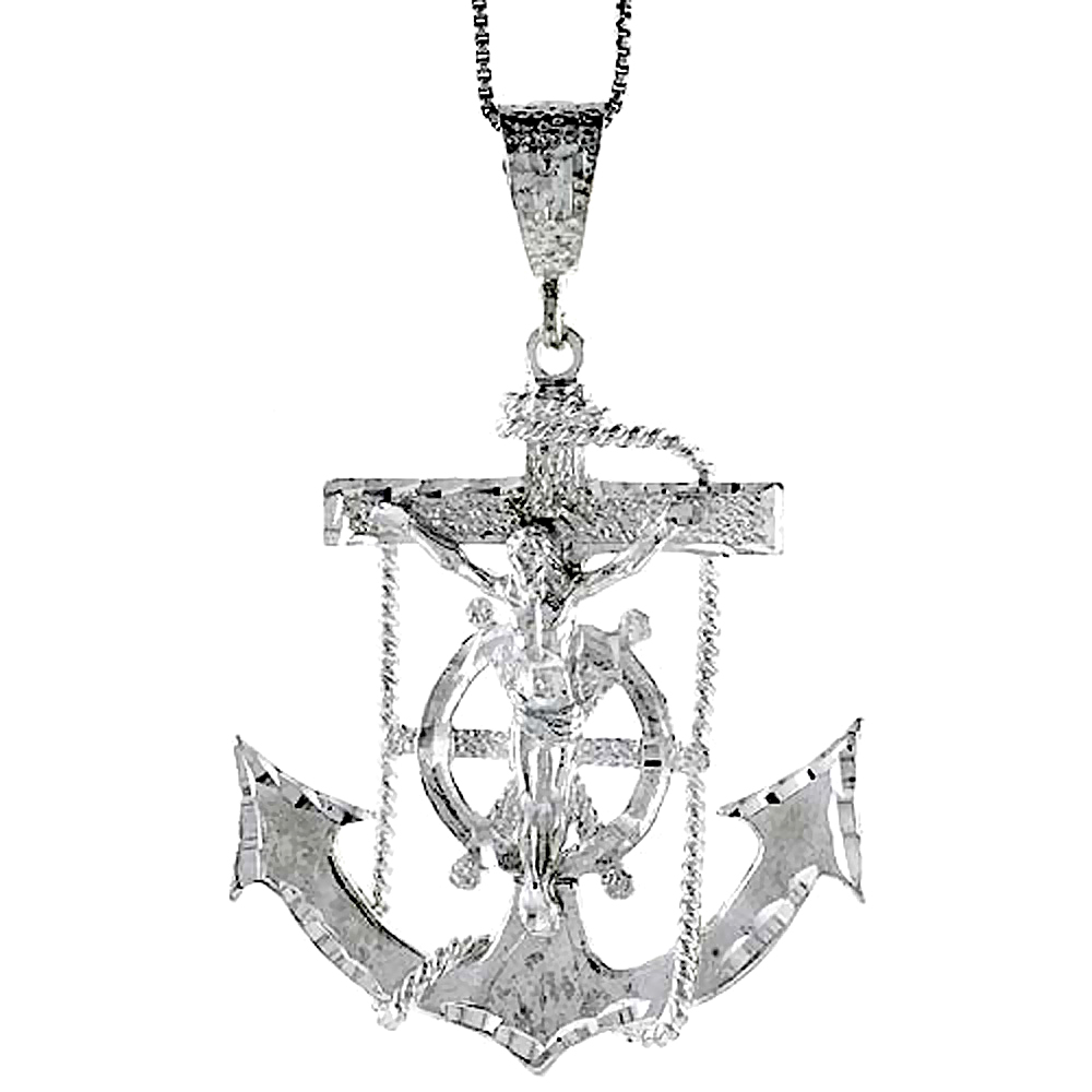 Sterling Silver Large Mariners Anchor Cross Pendant, 2 1/16 inch