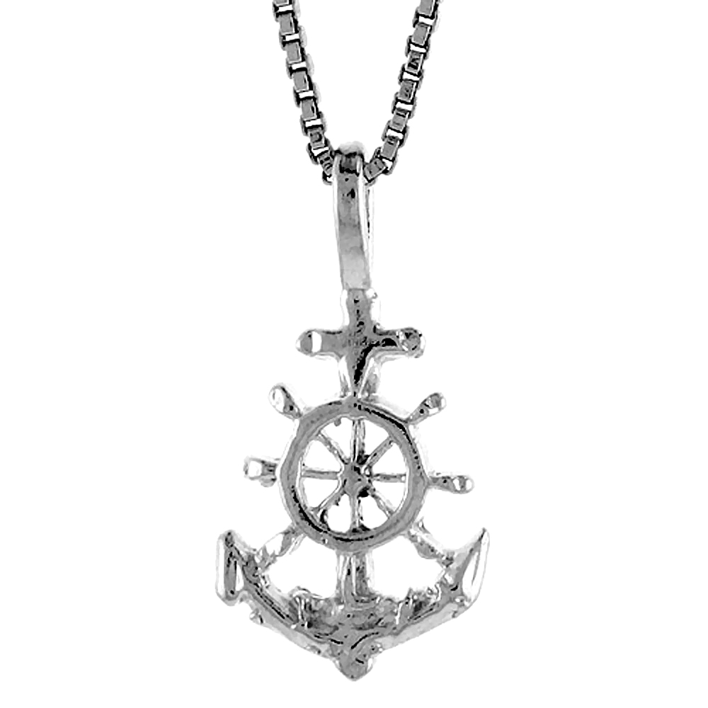 Sterling Silver Anchor Pendant, 1/2 inch