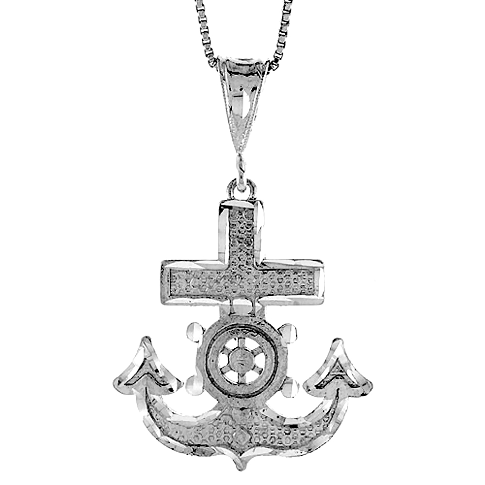 Sterling Silver Anchor Pendant, 1 1/4 inch