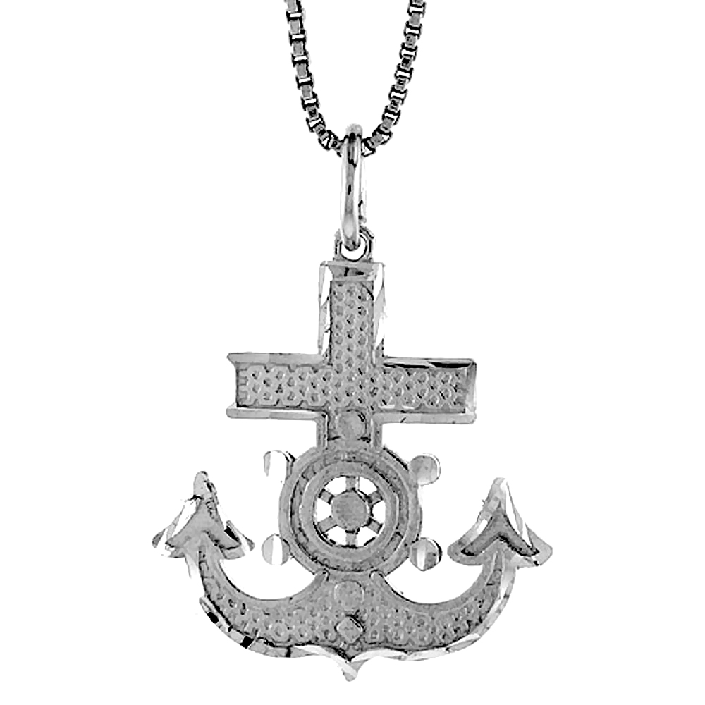 Sterling Silver Mariners Anchor Cross Pendant, 1 inch