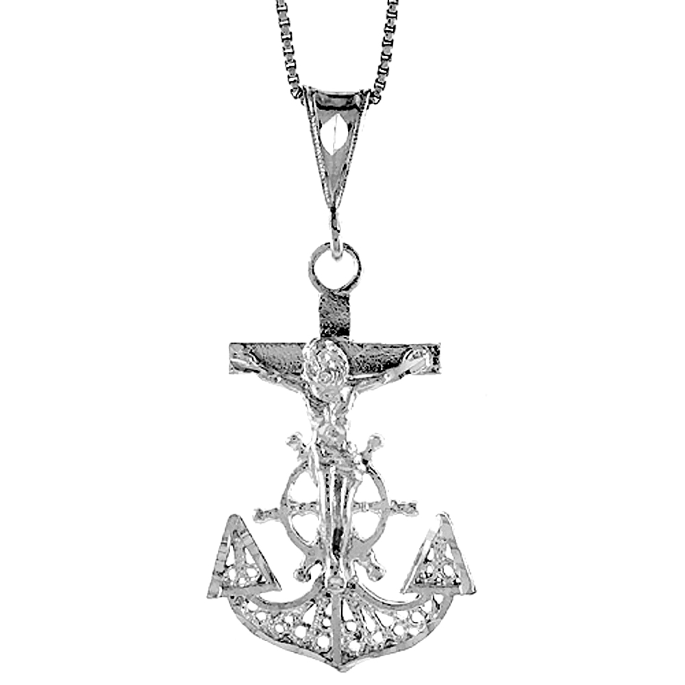 Sterling Silver Mariners Anchor Cross Pendant Filigree, 1 3/8 inch