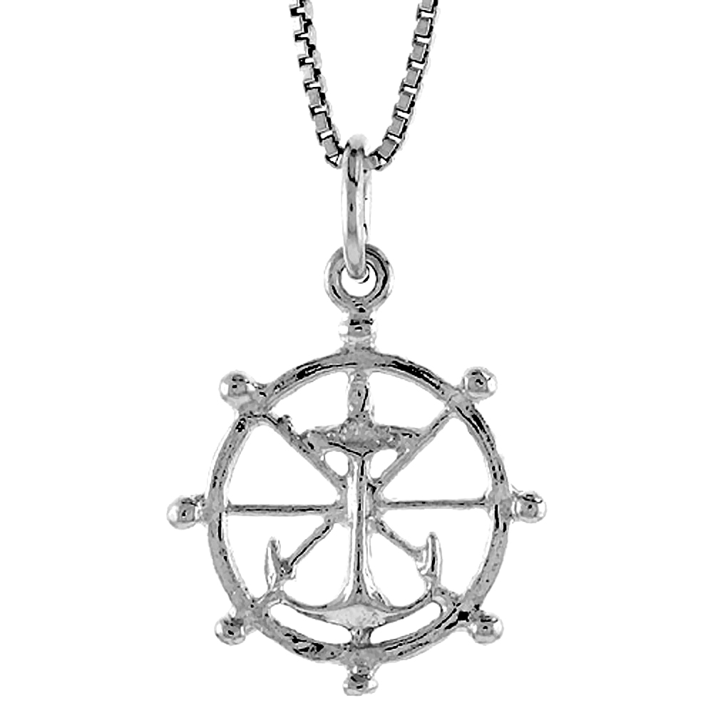 Sterling Silver Ships Wheel & Anchor Pendant, 3/4 inch