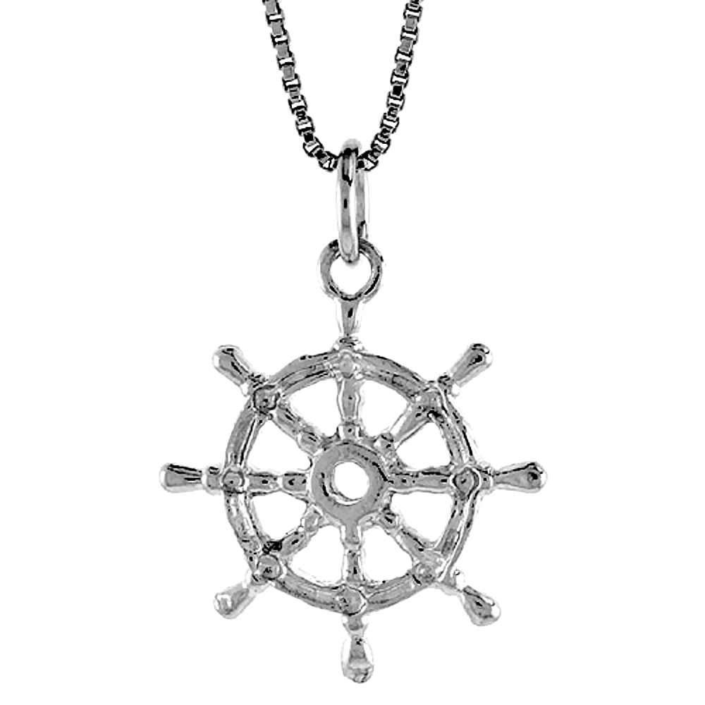 Sterling Silver Ships Wheel Pendant, 7/8 inch