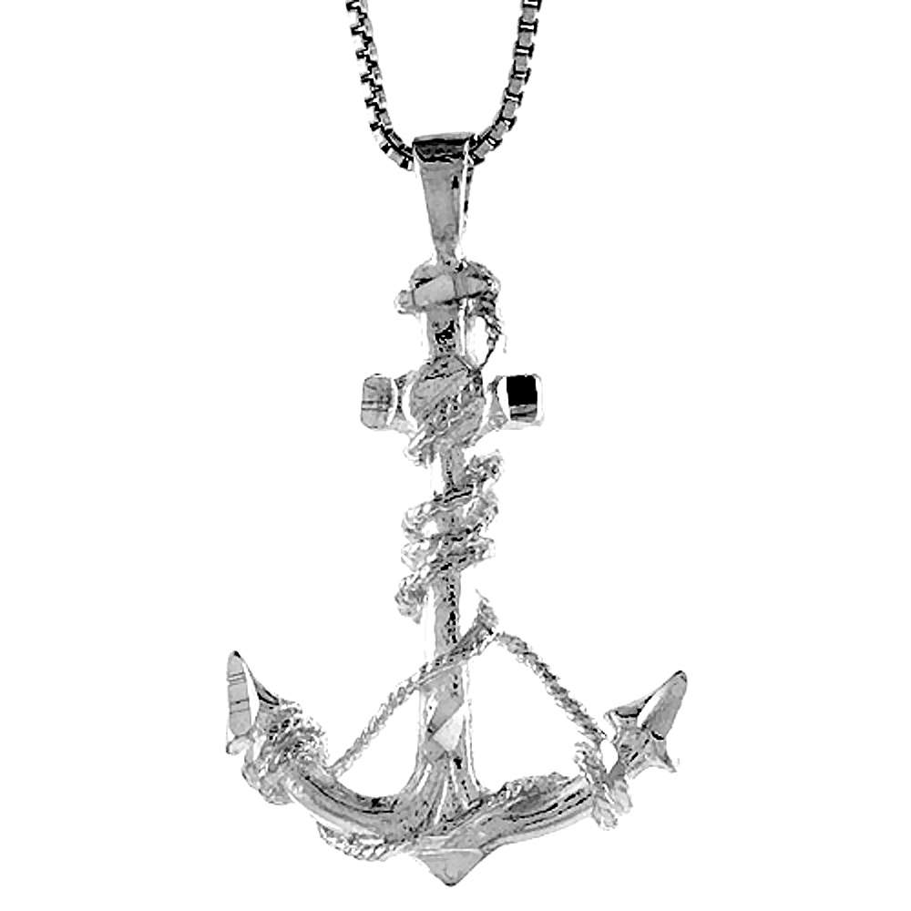 Sterling Silver Anchor Pendant, 1 1/16 inch