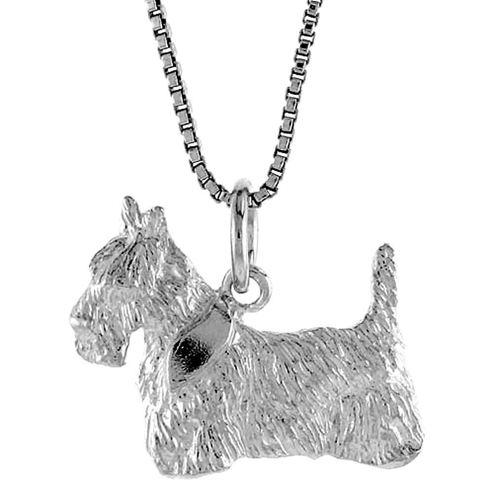 Sterling Silver Dog Pendant, 5/8 inch Tall