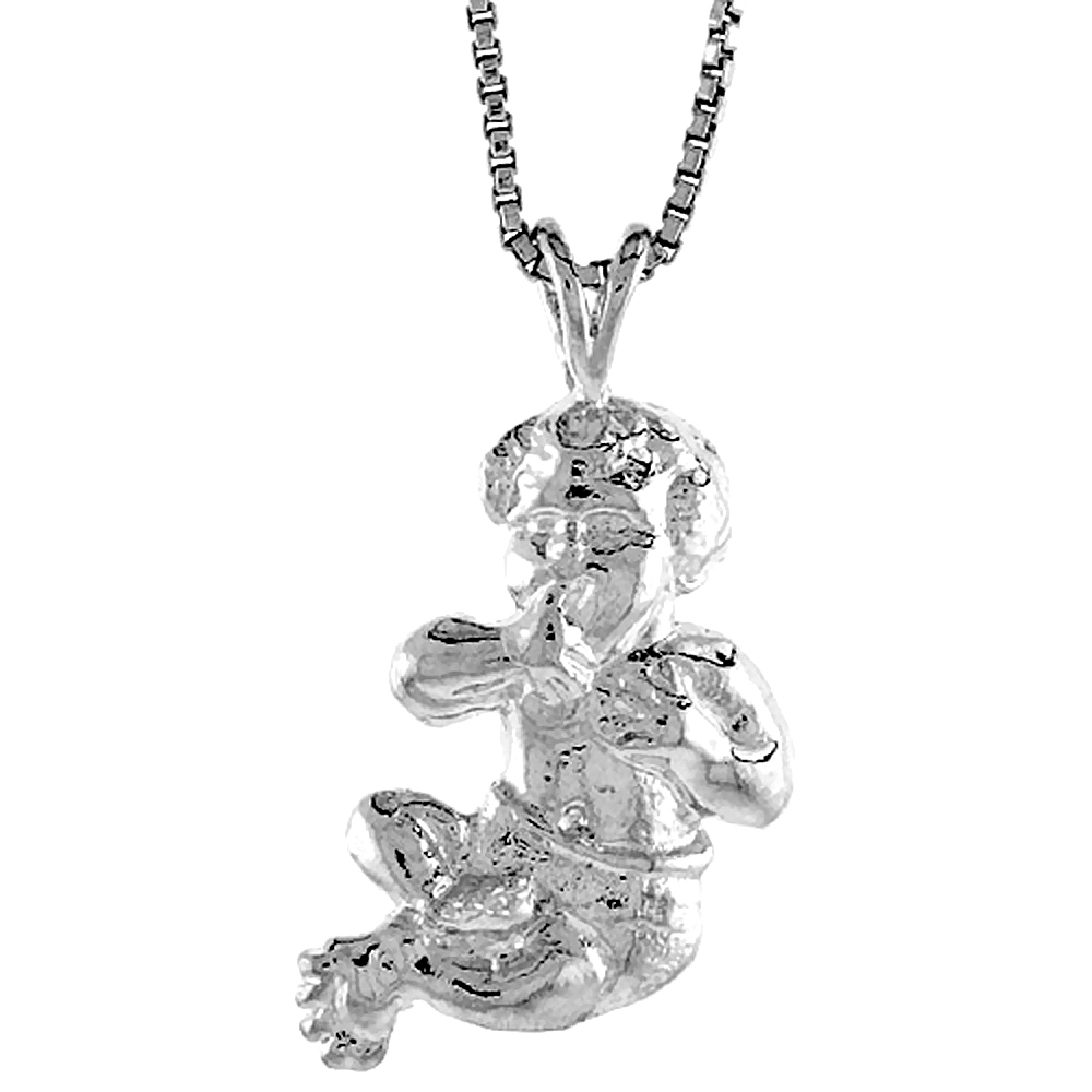 Sterling Silver Baby Pendant, 7/8 inch Tall