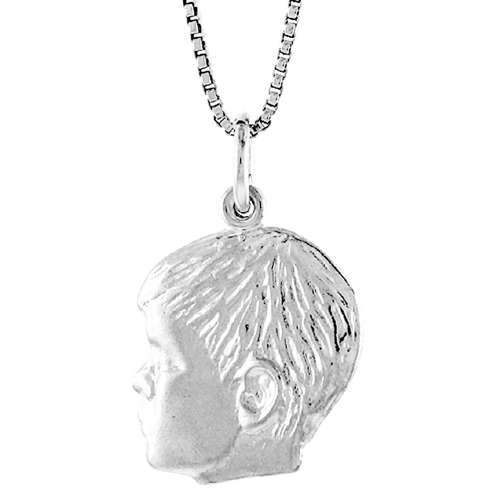 Sterling Silver Boy\'s Head Pendant, 3/4 inch Tall