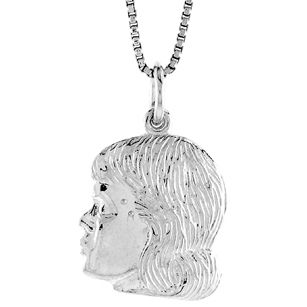 Sterling Silver Girl\'s Head Pendant, 3/4 inch Tall