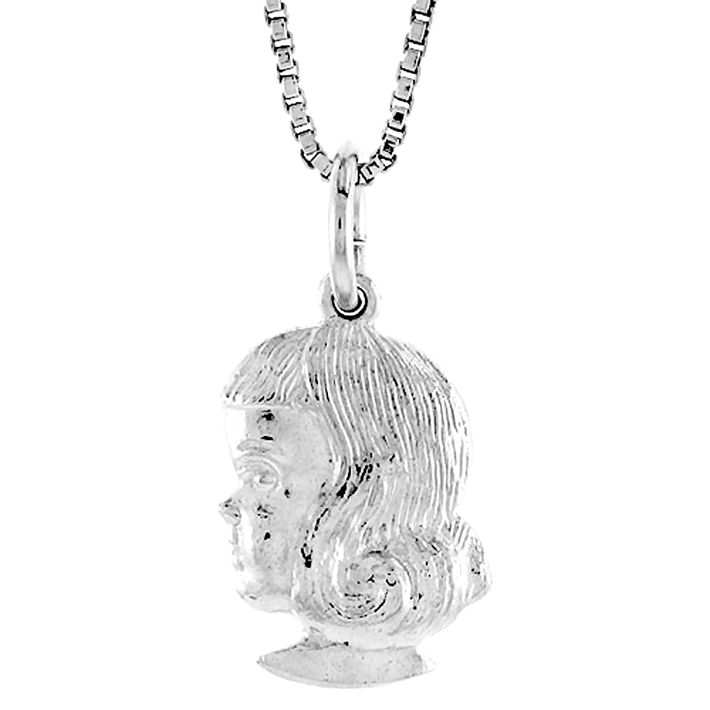 Sterling Silver Girl\'s Head Pendant, 1/2 inch Tall