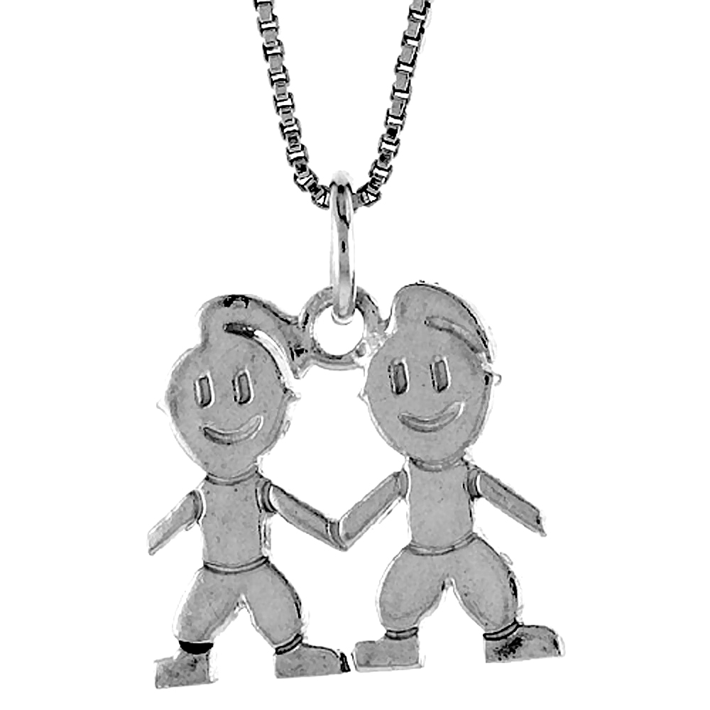 Sterling Silver Boy and Girl Pendant, 5/8 inch Tall