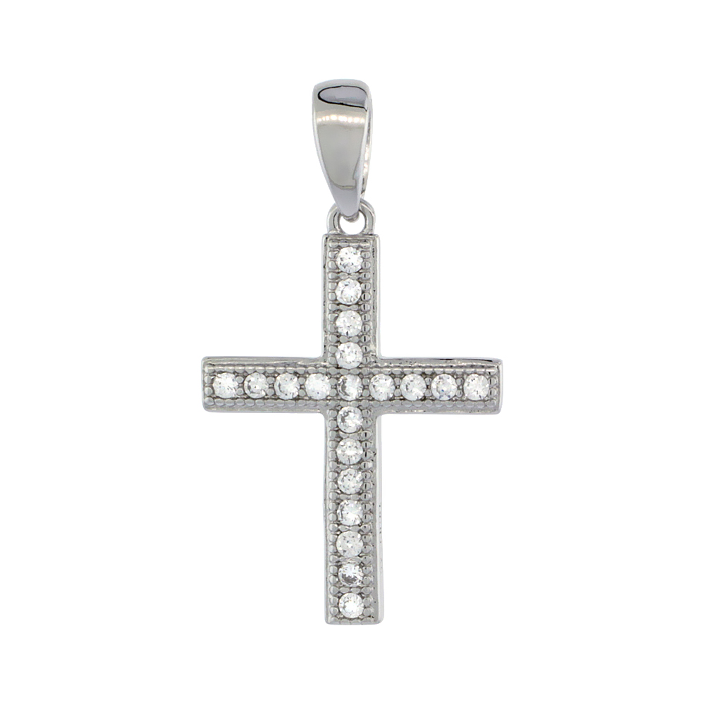 Sterling Silver Cubic Zirconia Latin Cross Pendant Micro Pave 11/16 inch