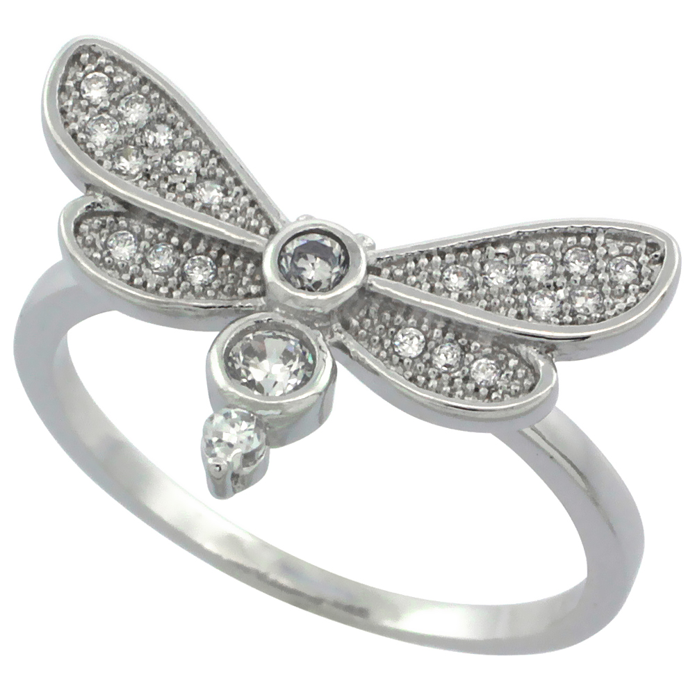 Sterling Silver Cubic Zirconia Dragonfly Ring Micro Pave, sizes 6 - 9