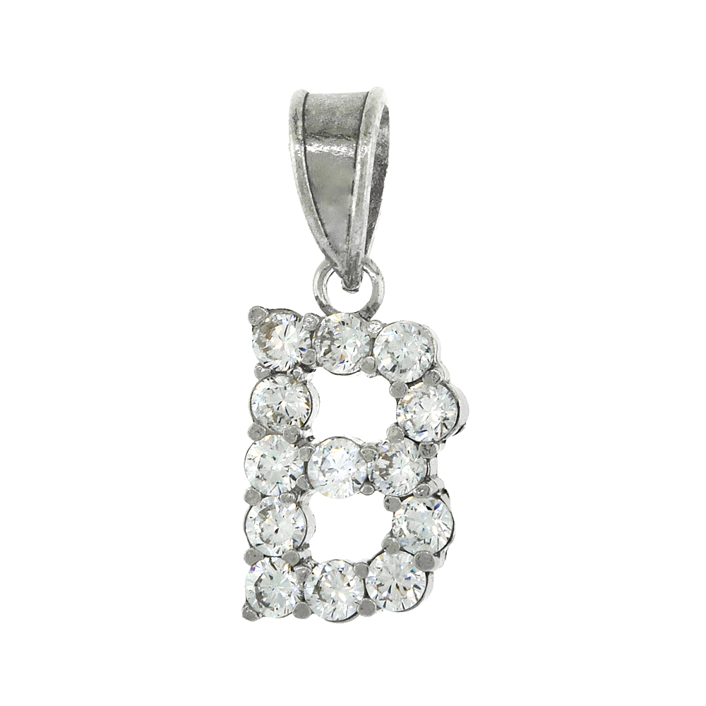 Sterling Silver Cubic Zirconia Initial Letter B Alphabet Pendant Rhodium Finish, 1/2 inch long