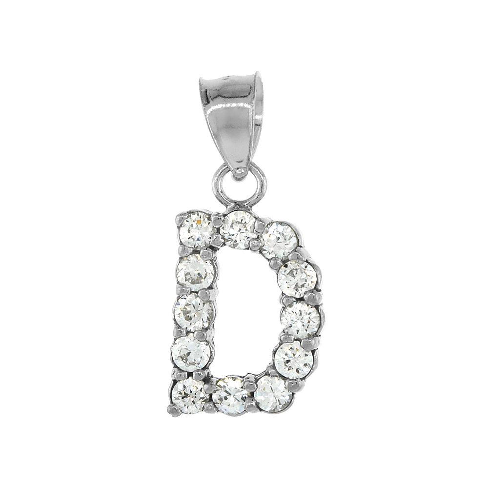 Sterling Silver Cubic Zirconia Initial Letter D Alphabet Pendant Rhodium Finish, 1/2 inch long