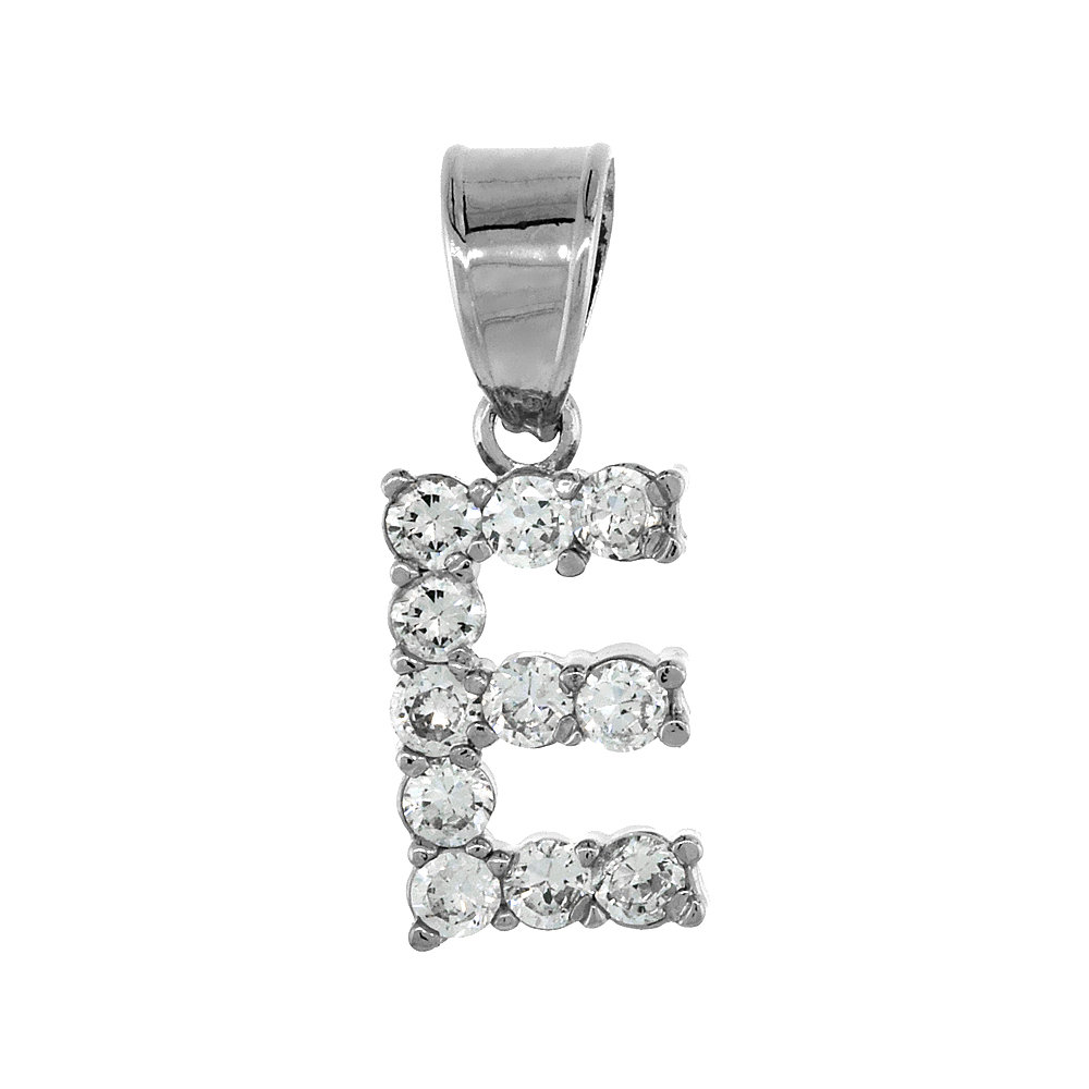 Sterling Silver Cubic Zirconia Initial Letter E Alphabet Pendant Rhodium Finish, 1/2 inch long