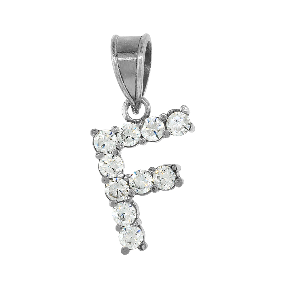Sterling Silver Cubic Zirconia Initial Letter F Alphabet Pendant Rhodium Finish, 1/2 inch long
