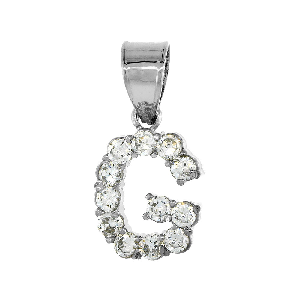 Sterling Silver Cubic Zirconia Initial Letter G Alphabet Pendant Rhodium Finish, 1/2 inch long