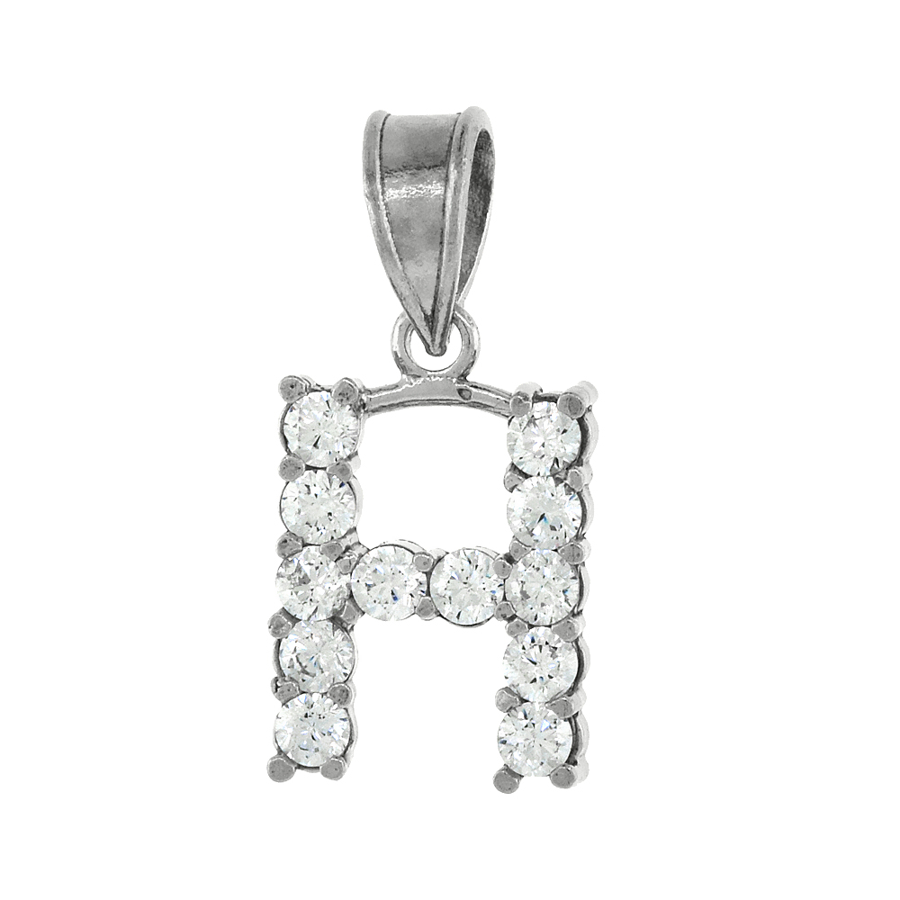 Sterling Silver Cubic Zirconia Initial Letter H Alphabet Pendant Rhodium Finish, 1/2 inch long