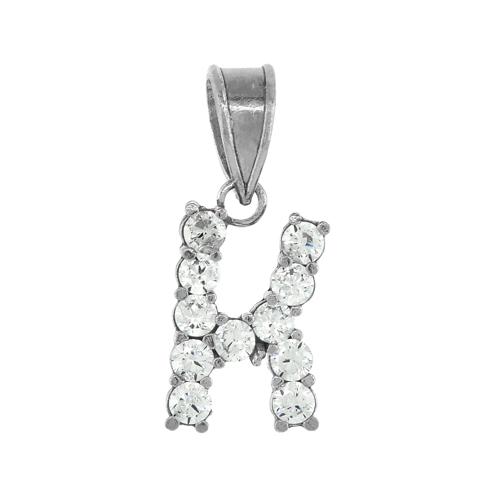 Sterling Silver Cubic Zirconia Initial Letter K Alphabet Pendant Rhodium Finish, 1/2 inch long