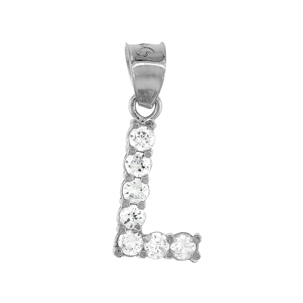 Sterling Silver Cubic Zirconia Initial Letter L Alphabet Pendant Rhodium Finish, 1/2 inch long