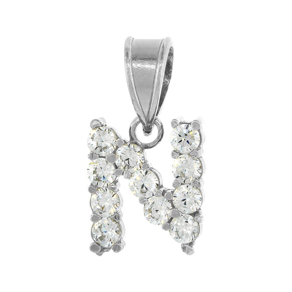Sterling Silver Cubic Zirconia Initial Letter N Alphabet Pendant Rhodium Finish, 1/2 inch long
