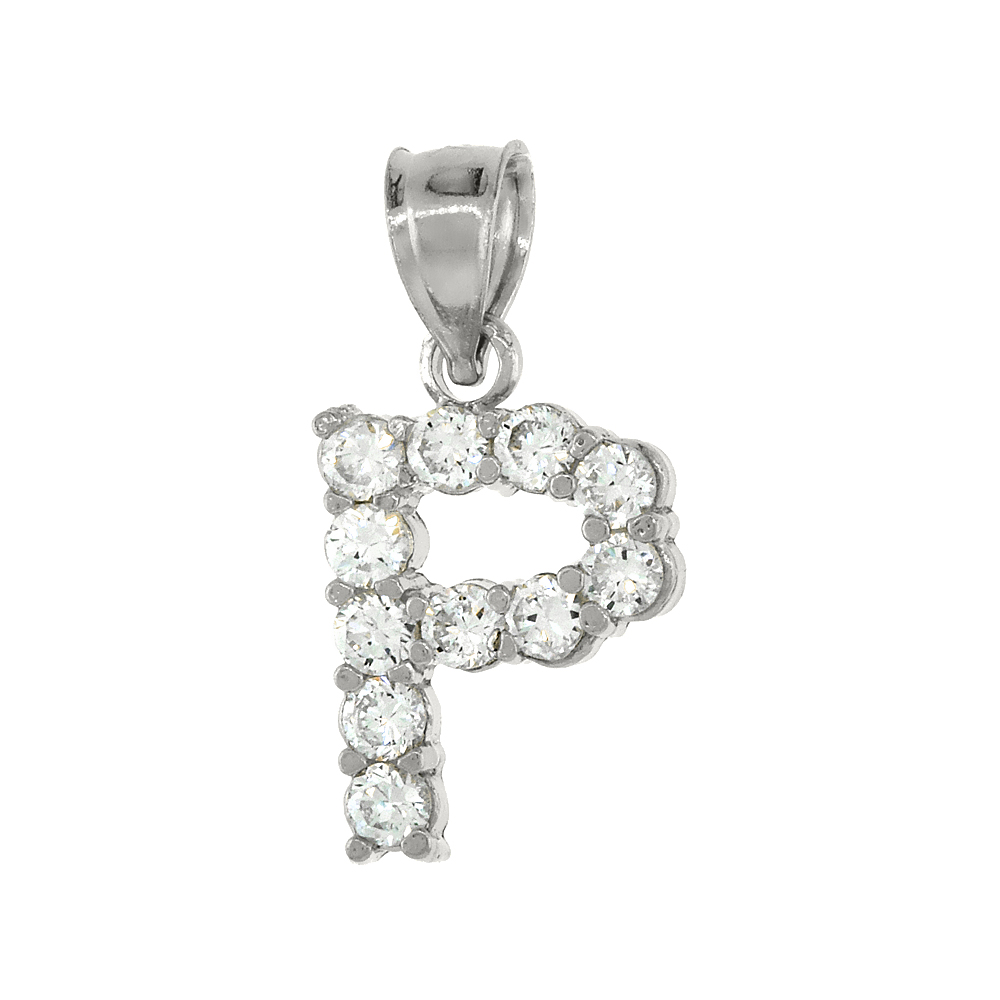 Sterling Silver Cubic Zirconia Initial Letter P Alphabet Pendant Rhodium Finish, 1/2 inch long