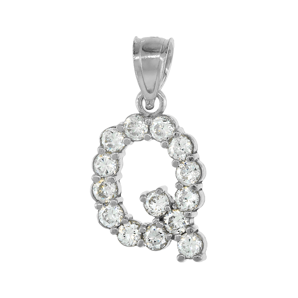 Sterling Silver Cubic Zirconia Initial Letter Q Alphabet Pendant Rhodium Finish, 1/2 inch long