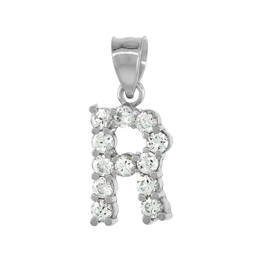 Sterling Silver Cubic Zirconia Initial Letter R Alphabet Pendant Rhodium Finish, 1/2 inch long