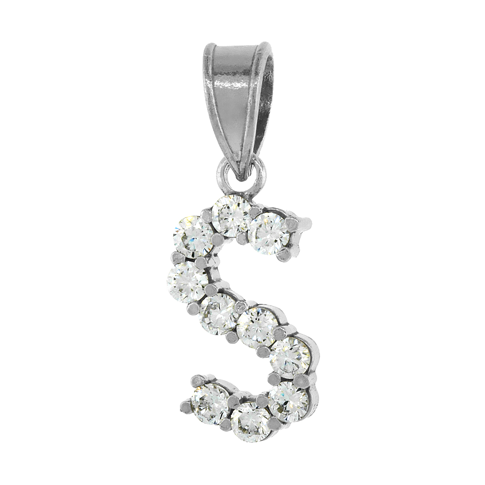 Sterling Silver Cubic Zirconia Initial Letter S Alphabet Pendant Rhodium Finish, 1/2 inch long