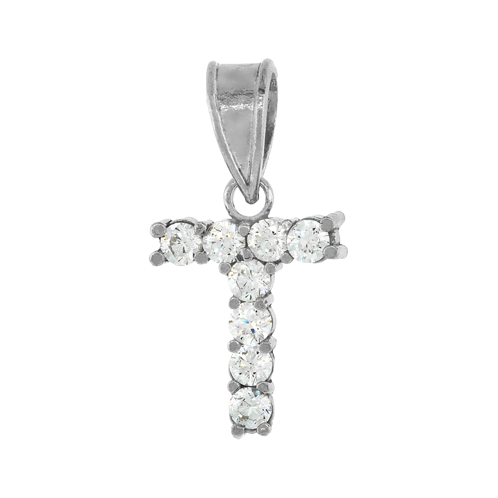Sterling Silver Cubic Zirconia Initial Letter T Alphabet Pendant Rhodium Finish, 1/2 inch long