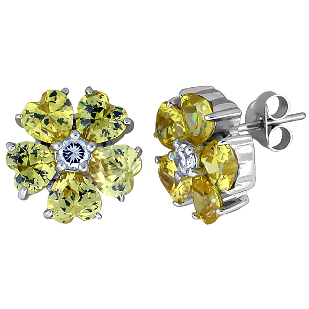 Sterling Silver Flower Stud Earrings w/ Heart-shaped Yellow Topaz-colored CZ Stones, 1/2 (12 mm) tall""