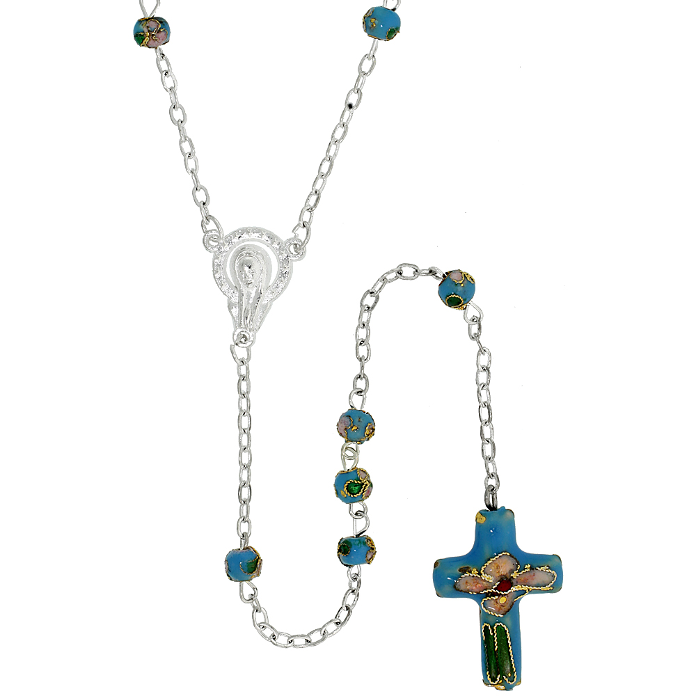 Cloisonn? Rosary Necklace w/ 5 mm Beads Turquoise Color, 30 inch