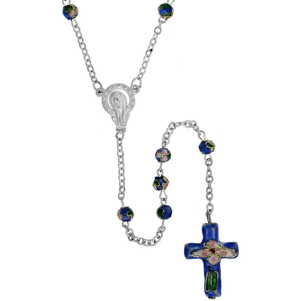 Cloisonn? Rosary Necklace w/ 5 mm Beads Azur Blue Color, 30 inch