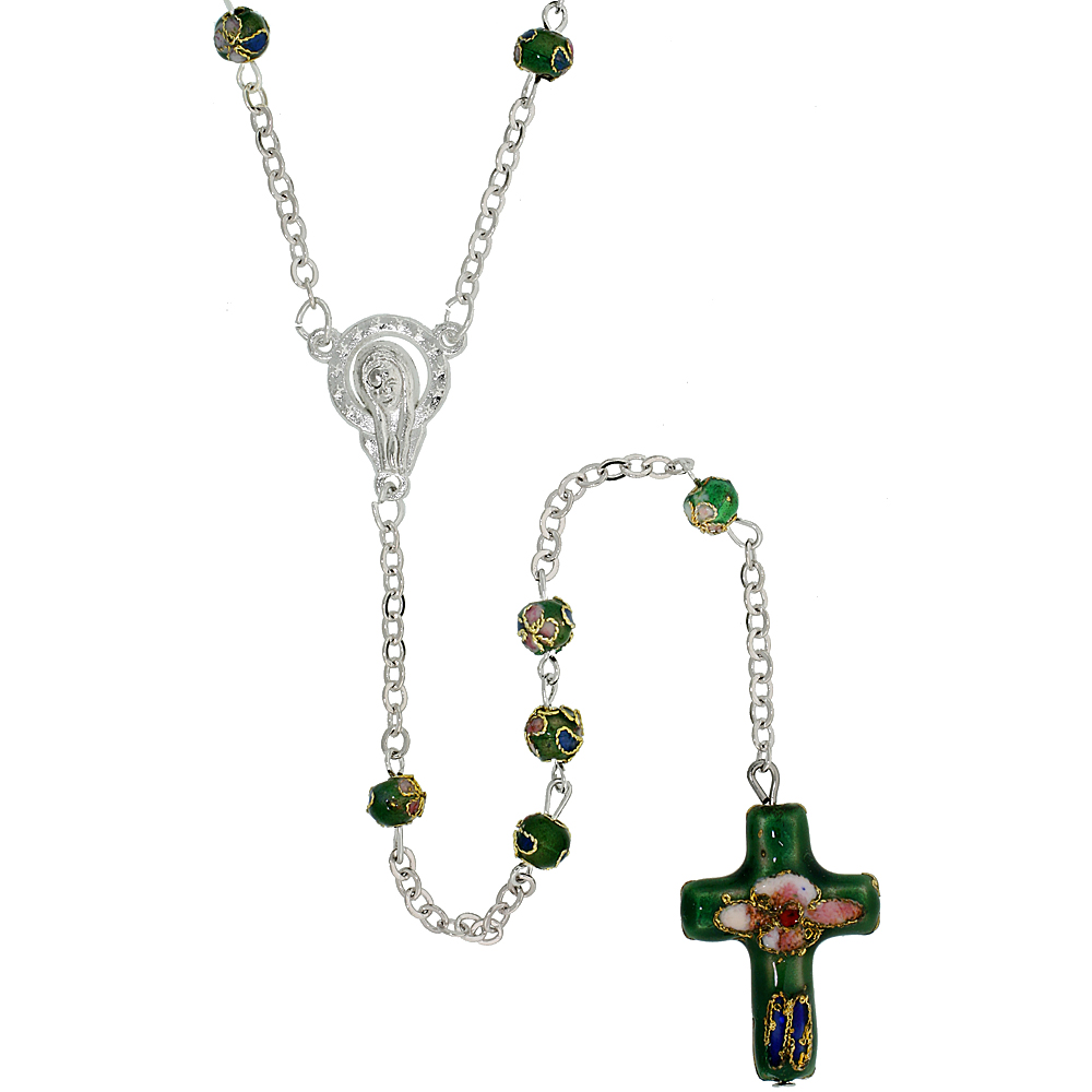 Cloisonne Rosary Necklace Emerald Green Color 5 mm Beads, 30 inch