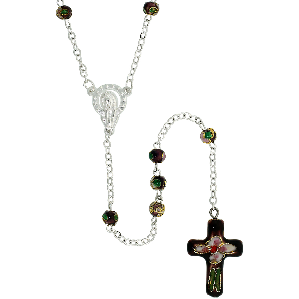 Cloisonne Rosary Necklace Smokey Topaz Brown Color 5 mm Beads, 30 inch