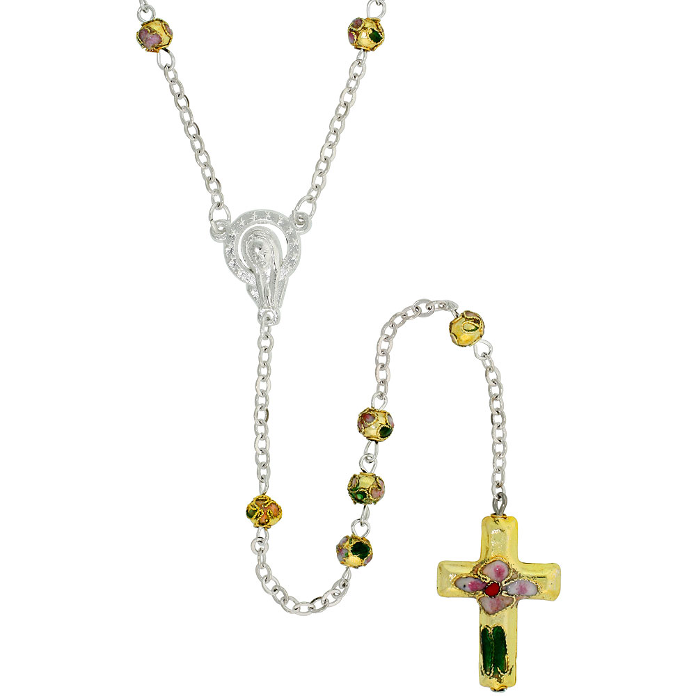 Cloisonne Rosary Necklace Green Gold Color 5 mm Beads, 30 inch