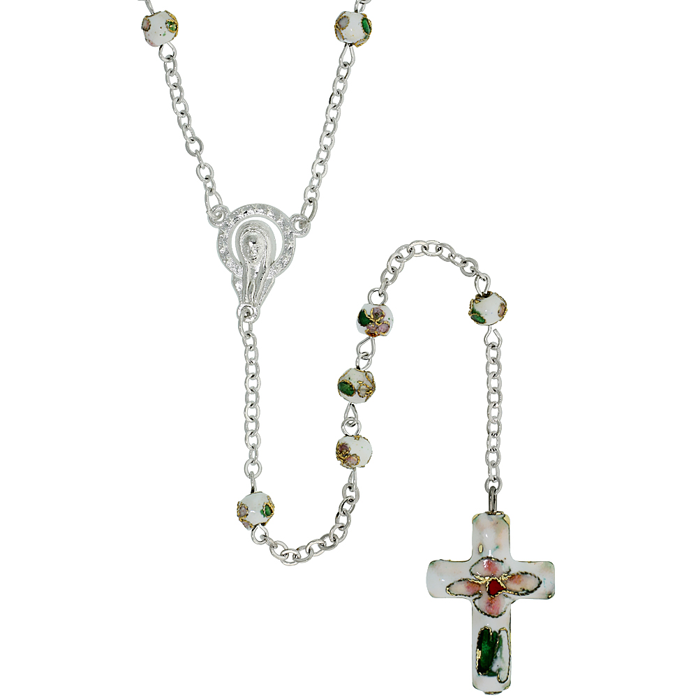 Cloisonn? Rosary Necklace w/ 5 mm Beads White Color, 30 inch