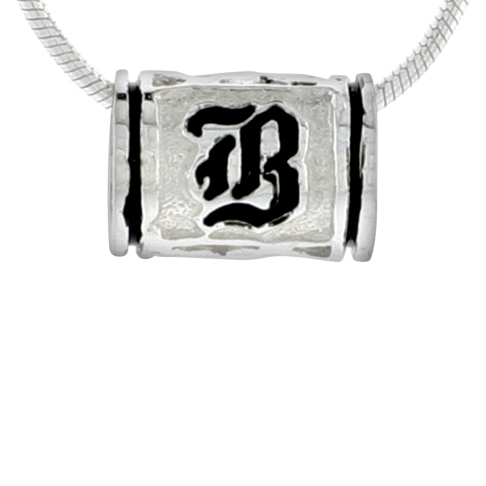 Sterling Silver Hawaiian Charm Bead Initial B Charm Bracelet Compatible, 1/2 inch wide